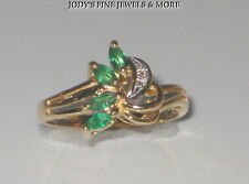 MAGNIFICENT ESTATE 14K YELLOW GOLD EMERALD & DIAMOND LADIES RING Size 6.25
