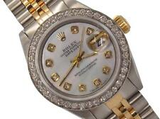 ROLEX  SS GOLD DATEJUST OYSTER LADIES MOP DIAMOND DIAL & BEZEL WATCH