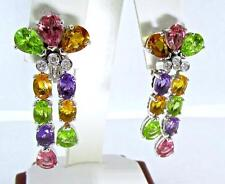 BEAUTIFUL GIORGIO VISCONTI 18 KT WHITE GOLD MULTI SEMIPRECIOUS STONES EARRINGS