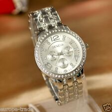 Silver Hot Fashion Womens Crystal Luxury Steel Wrist Designer Watch Geneva