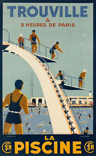 Art Ad TROUVILLE  LA PISCINE Swimming Bathes Diving Travel Poster Print