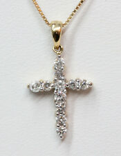 "Keepsake 1.0 DWT 14K Yellow Gold Diamond Mini Cross Pendant 18"" Chain Necklace"