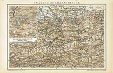 Karten SALZBURG und SALZKAMMERGUT 1895 Original-Graphik