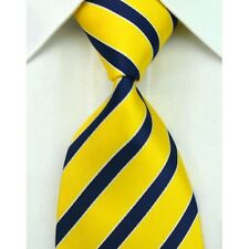 Yellow Hand Woven 100% Pure Silk Neck Tie with Dark Blue Diagonal Stripe Pattern