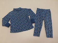 Vintage Gymboree Girls XS 12-18M Blue Floral Shirt & Pants Outfit Good Condition