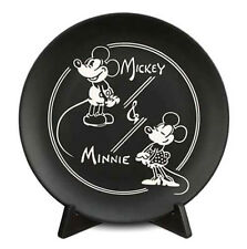 "Classic Black & White Mickey & Minnie 11"" Decorative Collectible Plate w/ Stand"