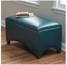 Footstools and Ottomans Coffee Table Storage Bench with Cushion for Bedroom Teal