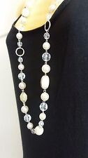 Long Clear Bead Necklace with Pearls
