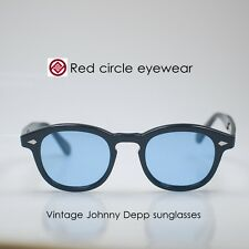 Retro Vintage Johnny Depp sunglasses Black M frame with Blue lens free shipping