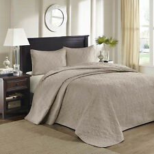 BEAUTIFUL XXL OVERSIZE CLASSIC BEIGE TAUPE TEXTURE VINTAGE BEDSPREAD SET NEW!