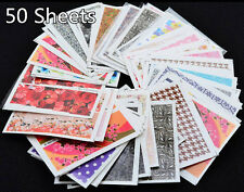 50PCS Stickers Mixed Flowers Pattern Manicure DIY Water Transfer Nail Art Decals