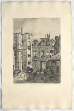ALFRED DELAUNEY French, 1830-1894 Etching  Hotel Passage Charlemagne Paris C1875
