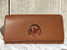 NEW-AU Michael Kors Fulton Carryall Leather Trifold Wallet LUGGAGE GOLD $148+