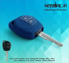 KeyZone Silicone Key Cover for Suzuki Swift, Dzire, SX4, Ertiga, WagonR (Blue)