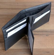 Mens Black BIFOLD WALLET Genuine Leather Credit Card Case Window ID Gift For Him