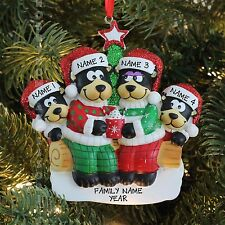 Black Bear Family of 4 with Hot Chocolate Personalized Christmas Tree Ornament