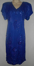 NEW Silk Cocktail Beaded Sequined Evening Dress M 12-14 Jewel Queen Blue 5g20