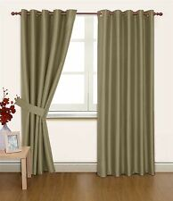 TAUPE FAUX SILK 90X90 THERMAL LINED BLACKOUT HEAVYWEIGHT RING TOP CURTAINS