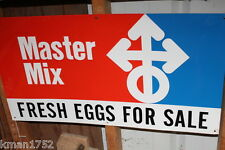 Vintage advertising metal Master Mix Feed Eggs For Sale NOS sign embossed 30X16