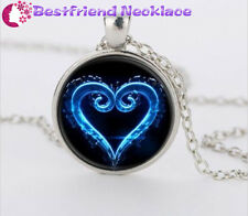 Silver Kingdom Hearts Emblem Symbol Jewelry  Glass Dome Pendant Necklace#T9