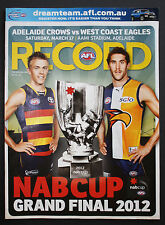 2012 NAB Cup Grand Final Adelaide vs West Coast Eagles Football Record unmarked