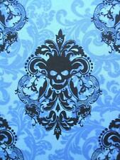 "Goth Damask Royal Blue Skull Michael Miller Cotton Fabric 28"" REMNANT"