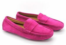 Tod's UK 4 EU 37 Womens Fuchsia Pink Leather Moccasins Loafer Shoes Small Defect