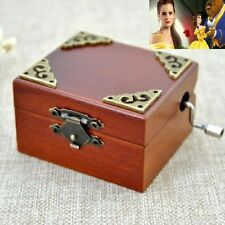 Vintage Wood Square Hand Crank Music Box : Beauty And The Beast