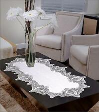 """Lace Table Runner White Oval High Quality 24"""" x 47"""" (60cm x 120cm)"""