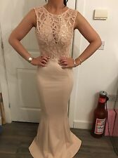 BNWT LIPSY MICHELLE KEEGAN SCUBA ROSE GOLD SEQUIN EMEBELLISHED MAXI DRESS SZ 12