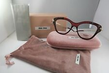 Miu Miu VMU 07O TKW-1O1 Burgundy/Rock Crystals New Authentic Eyeglasses 52mm Box