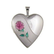 Sterling Silver Love Heart Rose Locket Family Pictures Hallmarked 925 *NEW*