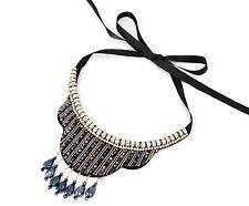 CC519 * Collier Col Plastron Ruban Bande Perles Facettes Strass Mode - Gris/Doré