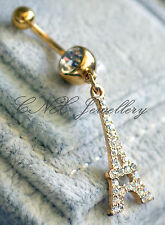 Unique 316L Surgical Steel Gold GP Dangling Eiffel Tower Navel Bar Belly Ring