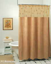 Morning Leaf Suede Fabric Shower Curtain Taupe Camel New by Creative Linens