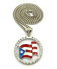 "NEW ICED OUT "" PUERTO RICO FLAG "" PENDANT & 36"" 6mm CUBAN LINK CHAIN."