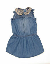 L138/16 Next  Baby Girl's  Blue Denim Dress with Animal Print Collar,12-18 month
