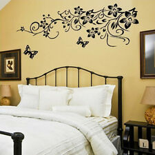 Removable Wall Stickers Black Flower Butterfly Vinyl Art DIY Home Decor Mural US