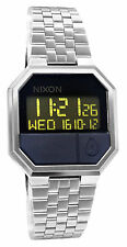 Nixon A158000 Re-Run Black Digital Silver Stainless Steel Bracelet Watch New