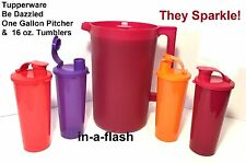 Tupperware 1-Gal BE DAZZLED PITCHER & 4 SET TUMBLERS Beverage Sparkle Drink Cup