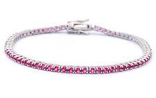"2.25CT Simulated Ruby Tennis Bracelet .925 Sterling Silver Bracelet 7 1/4"""