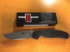RAT1, G-10/Carbon Fiber Handle, D2 Stonewashed Plain Ontario 8882CF Limited Ed.