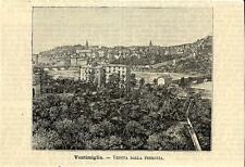 Stampa antica VENTIMIGLIA veduta panoramica Imperia 1891 Old antique print