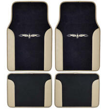 Car Floor Mats Carpet Tattoo Design 2 Tone Color Liner 4 Piece Beige Black