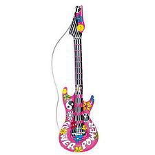 New Hippie Inflatable Guitar 105cm Inflatable for 60s 70s Hippy Fancy Dress