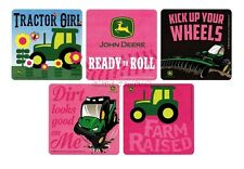 15 Pink John Deere Farm Tractor Stickers Girl Party Goody Loot Bag Favor Supply