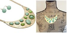 Mint & Lime Green Cabochon Floral Crescent Gold -tone Bib Necklace Earrings Set
