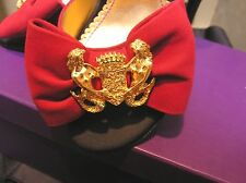 NIB Hale BOB leather suede heels sandals open shoes RED/gold mermaid brooch 6,5