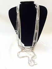 Statement Necklace Multi-chain Chunky Long Silver Tone And Open Back Bezels