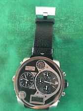 Men's Diesel DZ7125 Black 4 Time Zone Chronograph Leather Strap Watch